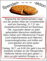 HInweis Zwiebelkuchenverkauf zugunsten der Flutopfer