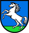 Wappen der Gemeinde Althengstett mit weissem Pferd auf blau-grünem Hintergrund